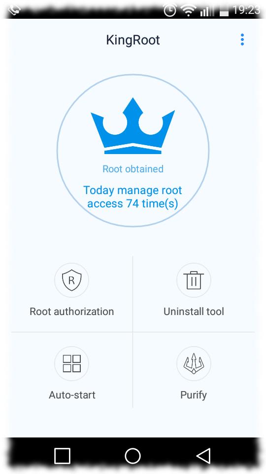 Screenshot der Rootingapp (Nach der Anwendung)