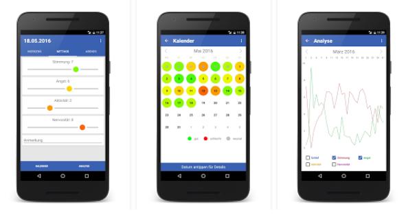 Bilder der Stimmungs-Eerfassungs-App