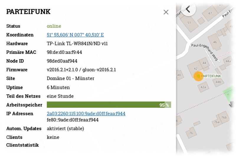Screenshot von der Karte mit bereits eingezeichnetem Freifunk-Knoten.