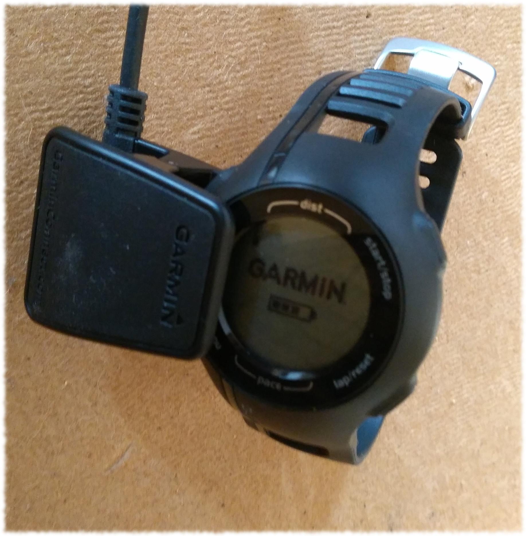 GPS-Pulsuhr Garmin Forerunner 210 an der Ladestation.