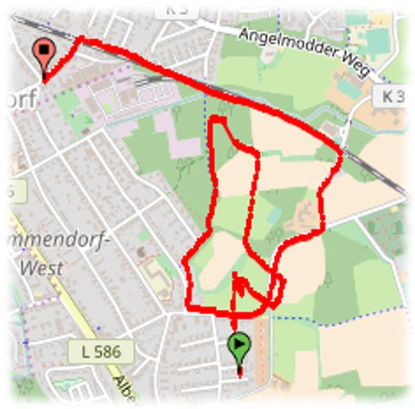 Die etwas seltsam gemessene heutige Laufstrecke.