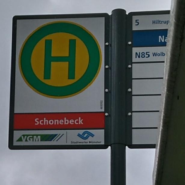 Schild der Bushaltestelle Schonebeck, Münster-Nienberge