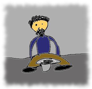 Schlechte Zeichnung eines Bettlers.