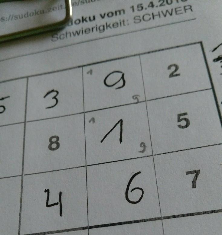 Ausschnitt aus dem ausgefüllten Sudoku.