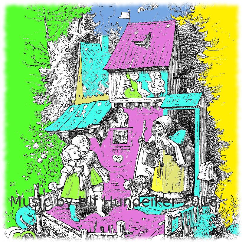 coloriertes altes Bild von Hänsel und Gretel