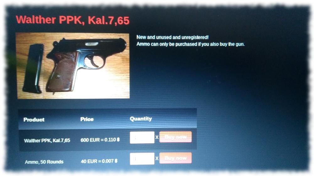 Screenshot einer im Darknet angebotenen Walter PPK
