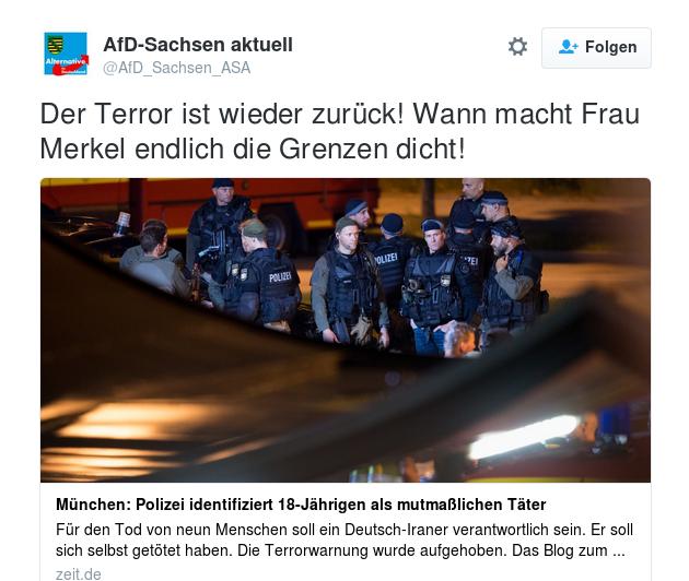 AfD Sachsen: Der Terror ist wieder zurück! Wann macht Frau Merkel endlich die Grenzen dicht!
