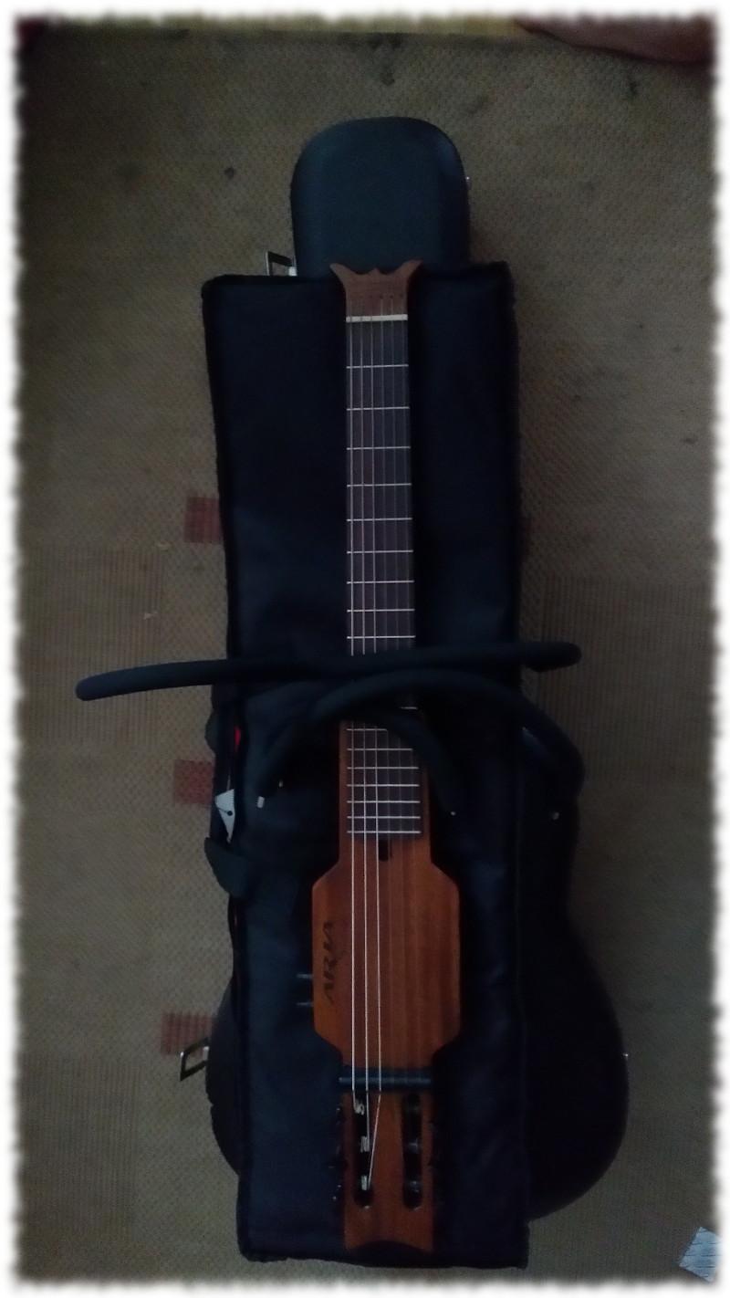 Aria Sinsonido zerlegt mit den Bügeln auf dazugehöriger Tasche, alles zum Größenvergleich auf normalem Gitarrenkoffer.